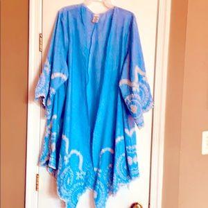 Gorgeous  embroidered Kimono Blue💙Jacket Size 3XL